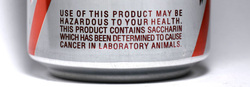 Saccharin Warning Label